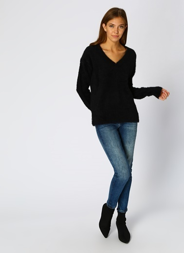 Vero Moda Vero Moda 10199788 V Yaka Kadın Kazak Siyah